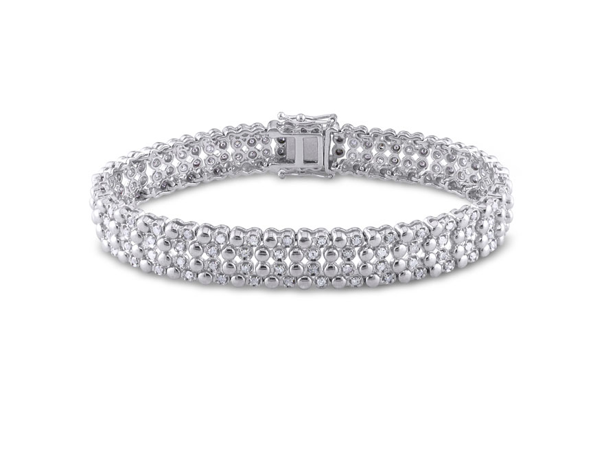 2 CT TW 4 Row Diamond Bracelet in Sterling Silver Miabella